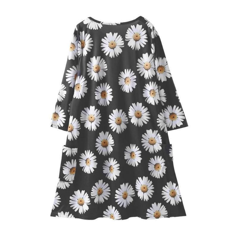 Mode Daisy fleur famille correspondant vêtements automne printemps mère fille enfants Floral imprimé robes noir maman fille robe 3
