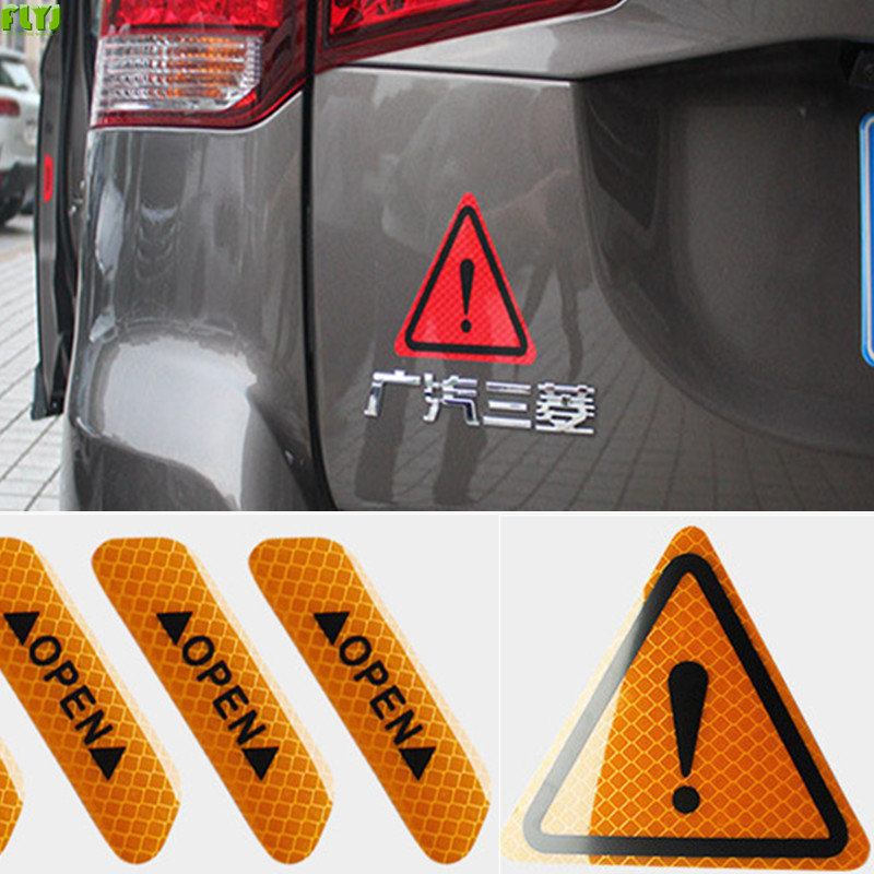 FLYJ reflective car sticker warning sticker Car door Car wheel post Automobile Traffic Warning stop sign car styling Parking new reflective traffic warning sign car triangle foldable standing tripod emergency