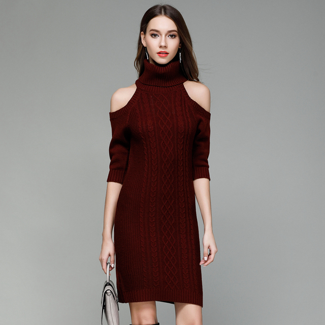 be8f61396988eb Burgundy camel grey black rolled turtleneck cold shoulder cable knitted  jumpers for women ladies midi bodycon sweater dresses