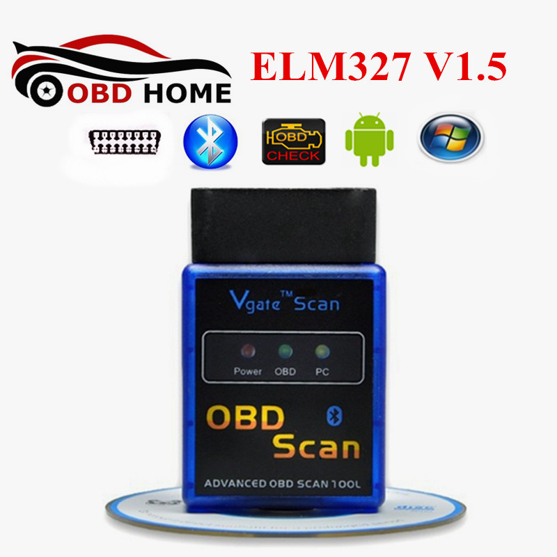 Newly OBD2 Vgate ELM327 Bluetooth V1.5 OBDII Vgate Scan Bluetooth ELM 327 OBD V1.5 25K80 Chip With Android Torque