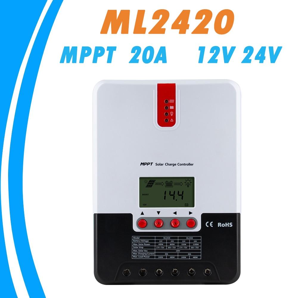 20A 12 V 24 V LCD Controlador de Carga Solar MPPT Regulador Solar com Função de Comunicação para Gel de Chumbo Ácido bateria de Lítio baterias Novas