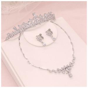 Image 5 - 2 pçs flor coroa conjunto acessório do casamento na moda zircon tiara colar strass coroa para noiva casamento pageant coroas