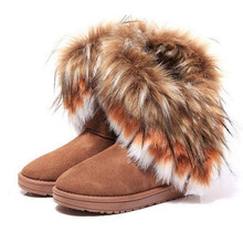 Women Flats Ankle Snow Boots Fur Boots Winter Warm Snow Shoes woman Round-toe Female Flock Leather Women Shoes 36--42 hee grand winter snow boots flock inside women ankle boots warm platform shoes woman slip on flats casual women shoes xwx1385