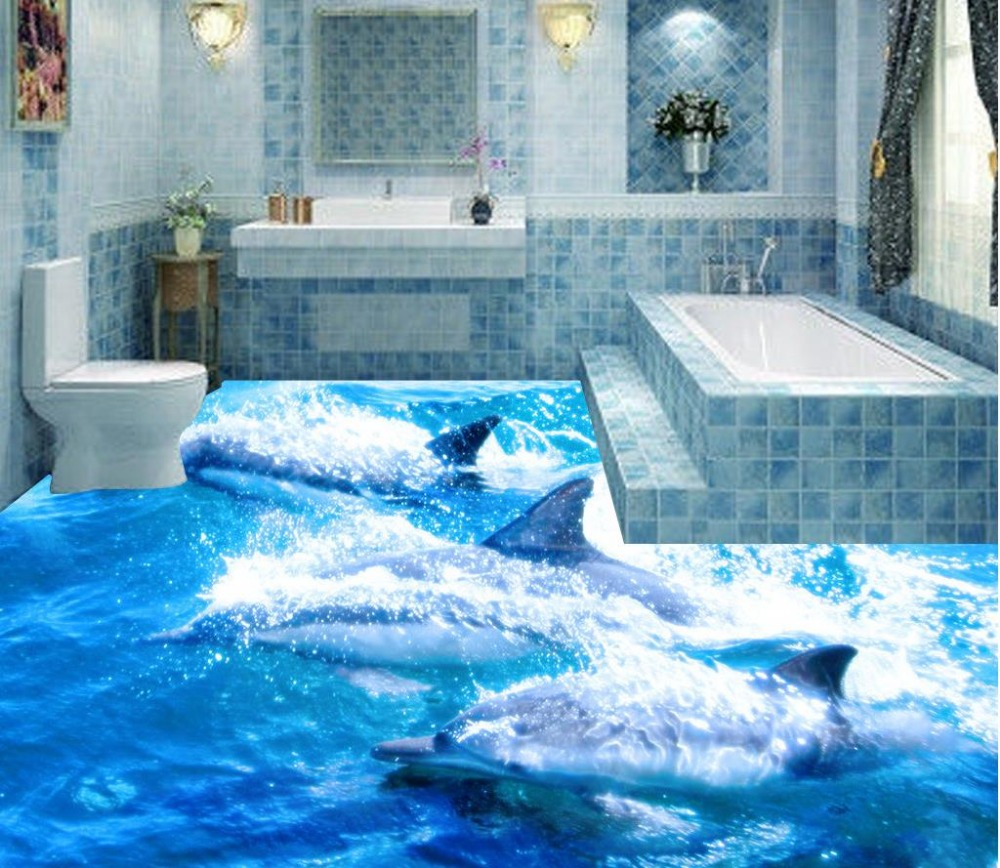 Dolphin Bathroom Tiles: Self Adhesive PVC Wallpaper Beach Floor Stickers Ocean