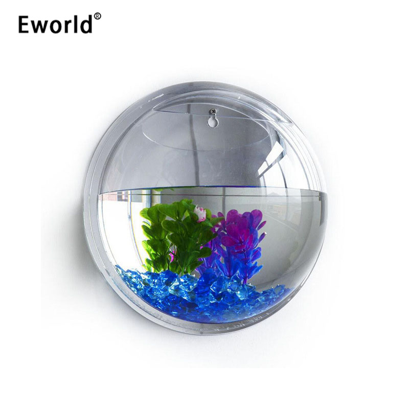 Eworld Acrílico Fish Bowl Colgante de pared Acuario Tanque para - Productos animales