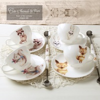 New Arrival Coffee And Tea Ceramic Cup Set High Quality Cute Animal Cartoon Bone China Coffee