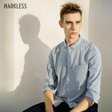 Markless полосатые мужские рубашки размера плюс M-3XL, приталенные деловые повседневные рубашки из хлопка, дышащие мужские рубашки CSA7538M