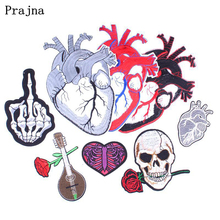 Prajna Punk Rock Heart Skull Patch Sew On Iron on Biker Patches Cheap Embroidered Patches For Clothes DIY Jacket Badge Applique mc1931 breed penna m c embroidered full back of jacket biker patch iron on sew on vest jeans applique badge
