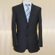 charles clayton brand wool dark navy with blue stripe man's business suit , custom tailor made man's MTM suit free shipping