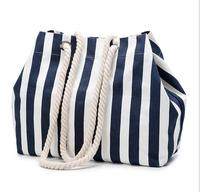 2018 hot sell fashion branded quality Navy stripes canvas large tote shopping handbag summer beach bag shoulder bag