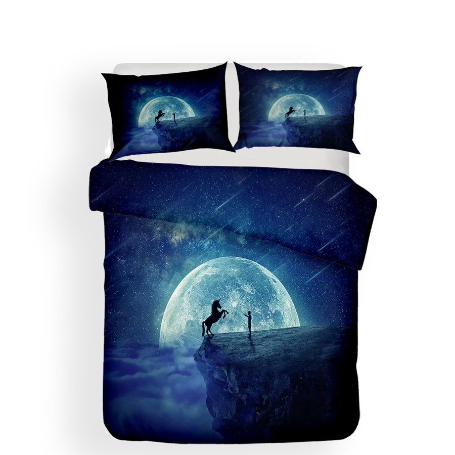 Image 2 - Bedding Set 3D Printed Duvet Cover Bed Set Unicorn Home Textiles for Adults Lifelike Bedclothes with Pillowcase #DJS13-in Bedding Sets from Home & Garden