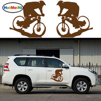 HotMeiNi 2x Cyclist Mountain Bike movement leisure sport car sticker For All Cars Styling Decoration Vinyl Decal camping holiday