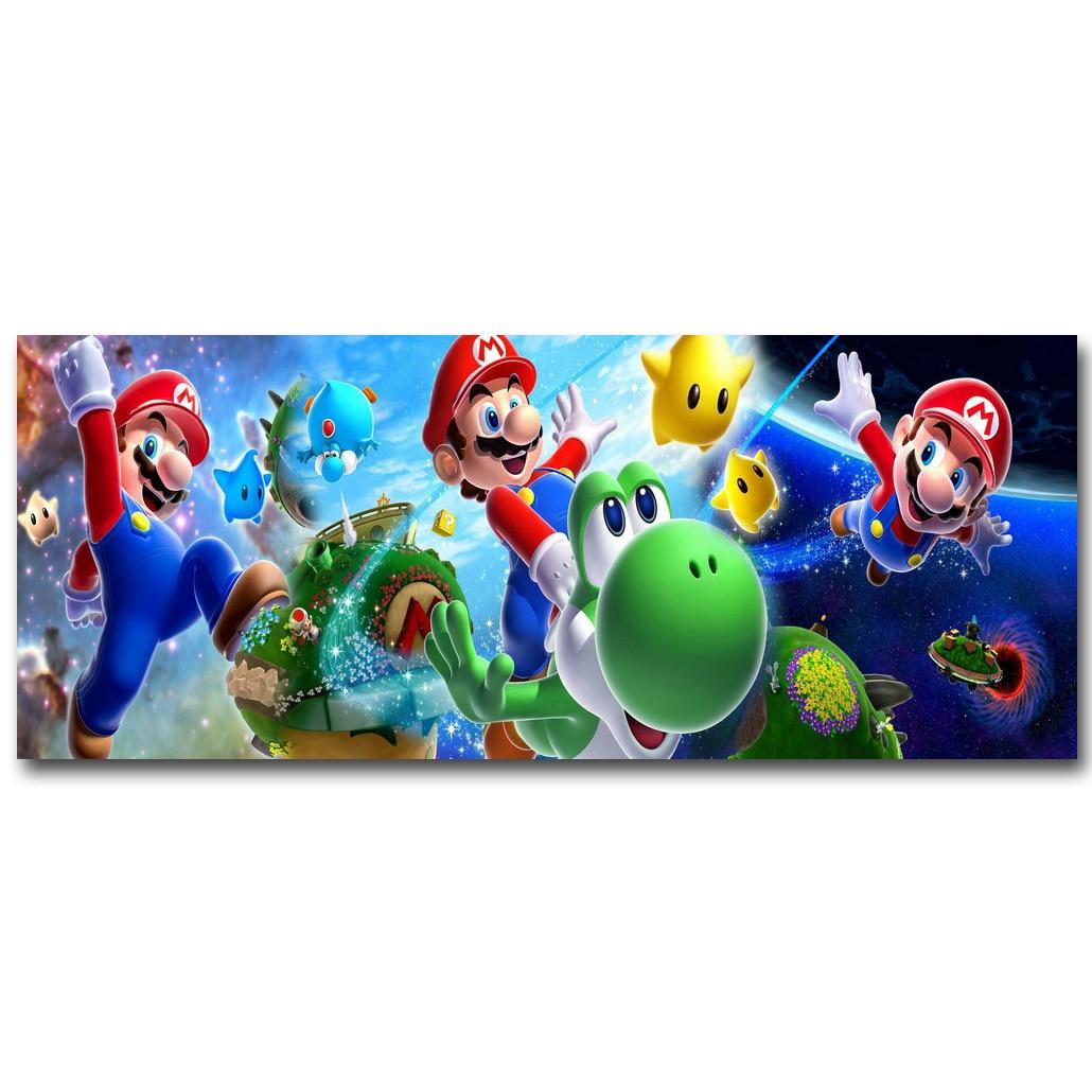 Super Mario Galaxy Art Silk Fabric Poster Print 13x32