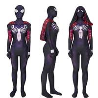 Gwen Venom Spider Man Cosplay Costume Jumpsuits Zentai Combat Suit Spandex Lycra Woman Halloween Costume