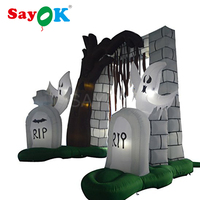 Inflatable LED Ghost Gate props Inflatable Halloween Decoration with LED Light for Halloween Yard Outdoor Garden De'co'ration