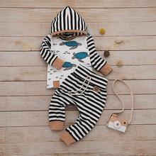 Nowonarodzone dziecko chłopiec ubrania kreskówka bluza z kapturem spodnie w paski Baby Boy odzież z długim rękawem jesień jesień ubranka chłopięce dla niemowląt tanie tanio MUQGEW Moda COTTON Poliester Suknem REGULAR Unisex Cotton Blend Pasuje prawda na wymiar weź swój normalny rozmiar Newborn Infant Baby Girl Boy Hooded T shirt Cartoon Stripe Pants