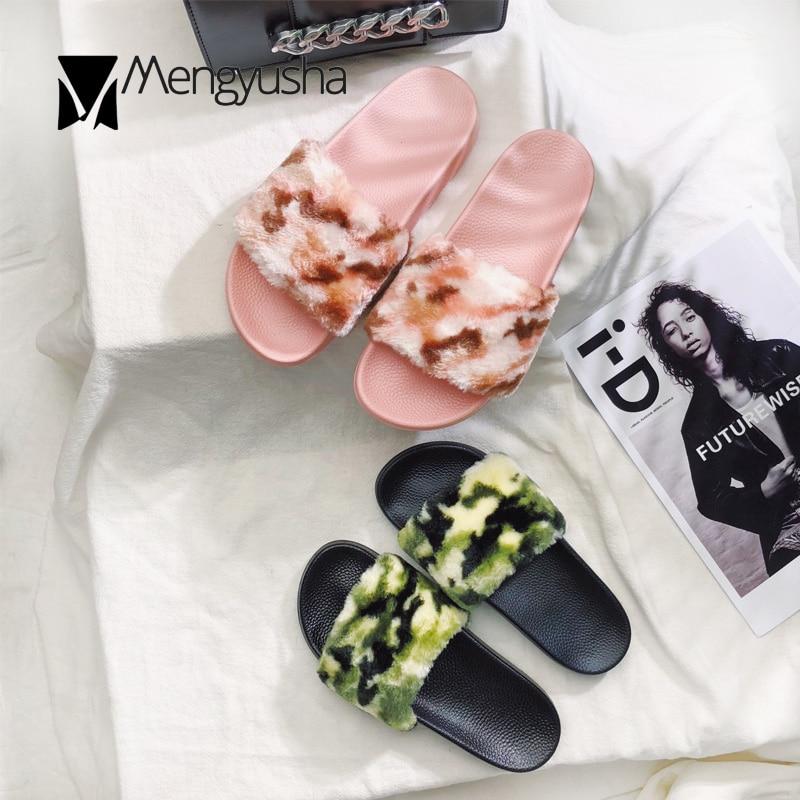 Marca Camouflage Fashion Nuovo Mujer Verde Scarpe On Rosa Di Piatto Slip Pelliccia colore Lusso Più Morbide Tacco Donne Slides Sandali Pantofole Cozy Flipflops 6Cq5T5