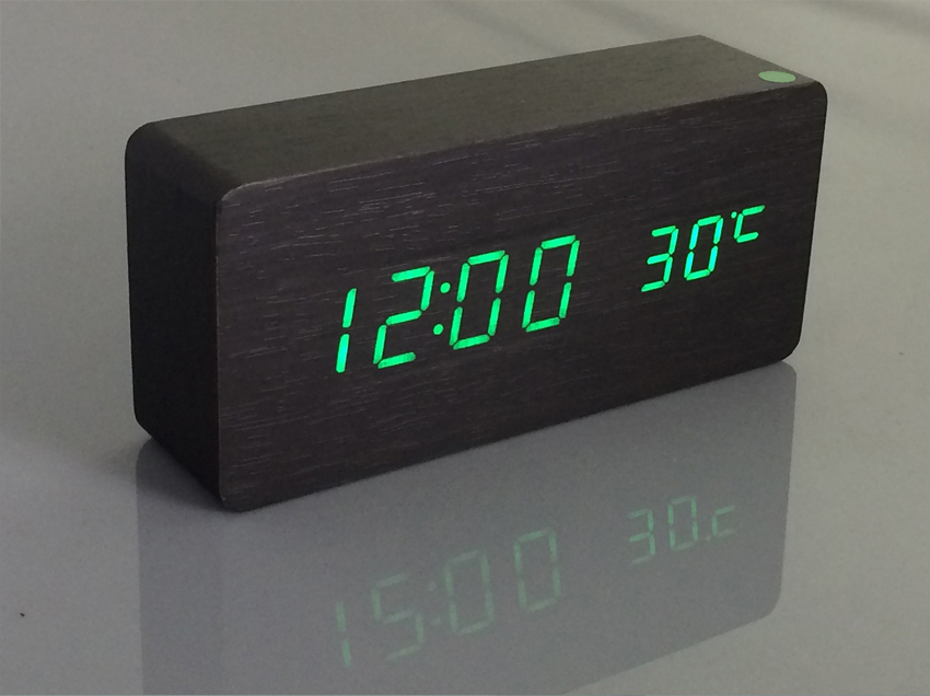 Wooden Green Light Production Plant Free Shipping Led Wecker Alarm Clock Bell Electron Temperature In Desk Table Clocks From Home