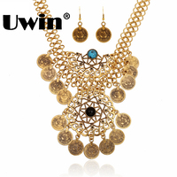 2016 Fashionable Necklace With Drop Earring Plating Silver And Gold Necklace Sets Indian Style For Women