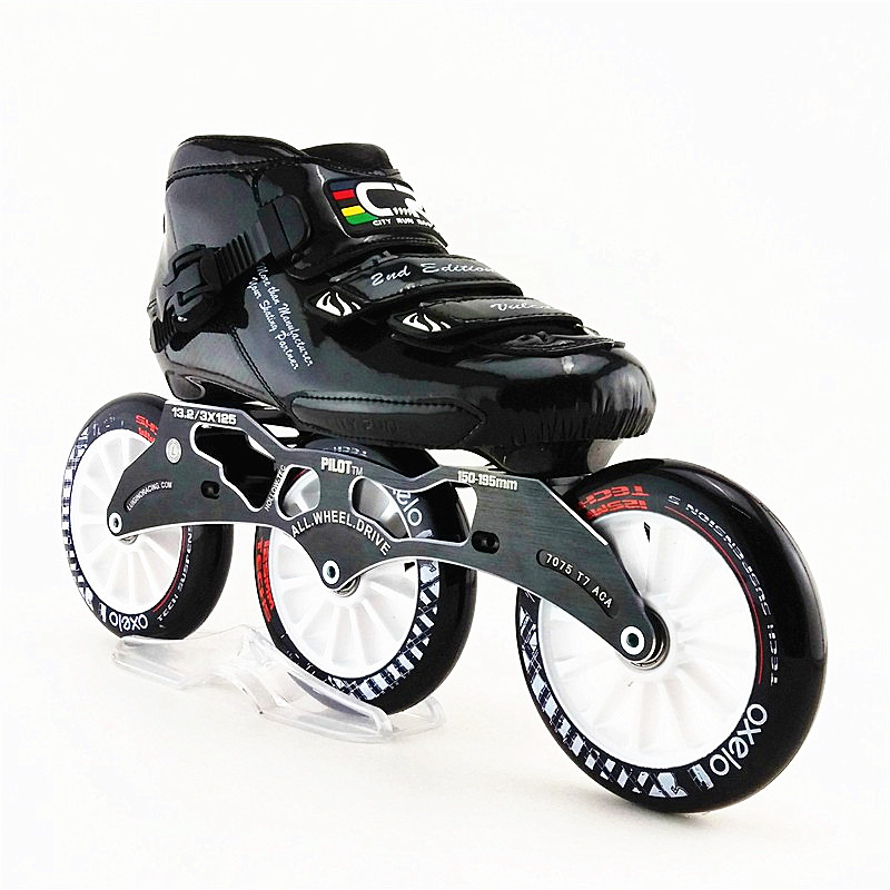 Professional carbon boots speed skating shoes Racing skate adult Roller skates 3X125mm round cake big wheel CT skates