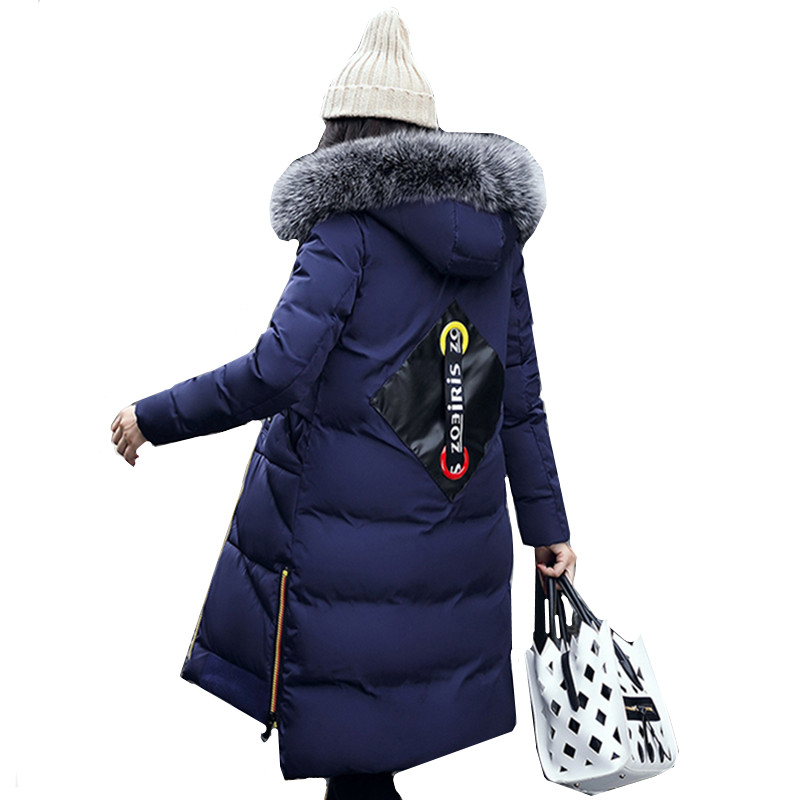 Women Basic Coats 2017 Korean Winter Coat Thicken Warm Cotton-padded Clothes Hooded Fur Collar Long Outerwear Female YAGENZ A9