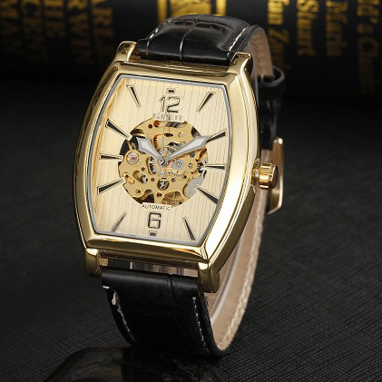 GEOR brand leather machinery Men s Automatic Watch Square Luminous fashion Skeleton digital male Wrist watches