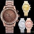 Moda das mulheres vestido de strass relógios