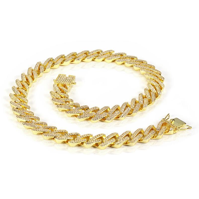 """Hip Hop Micro pavimentada CZ Cubic Zirconia oro plata Miami cubano cadena collares para hombres rapero de la joyería 13,5mm 18 """" 24""""-in Collares de cadena from Joyería y accesorios    3"""