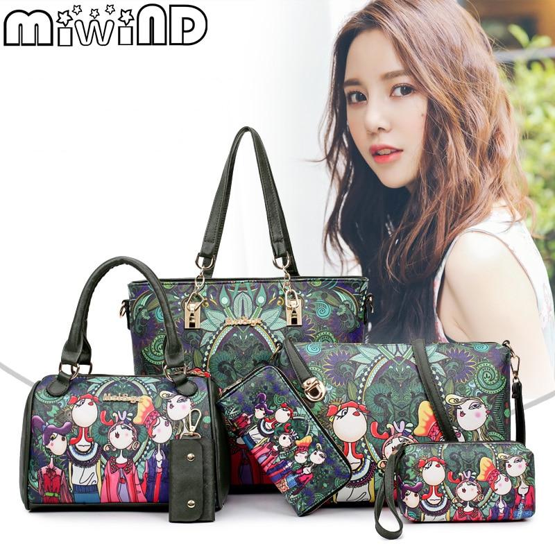 MIWIND 2018 Women Handbag Leather Female Bag Fashion Cartoon Shoulder Bag High Quality 6-Piece Set Designer Brand Bolsa Feminina