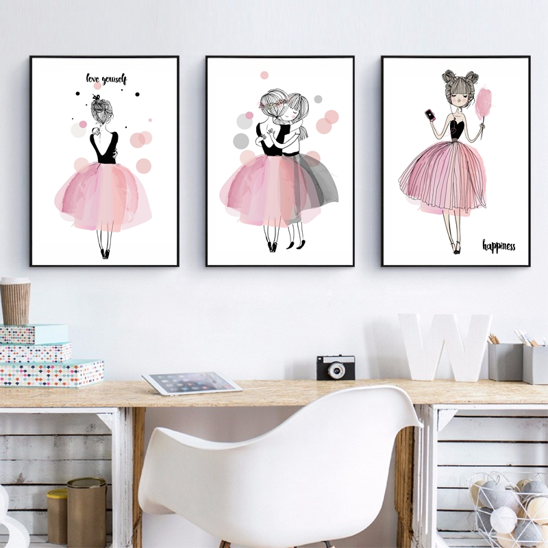 Cute cartoon girl canvas art print poster kids room wall decor watercolor pink canvas painting for Canvas prints childrens bedrooms