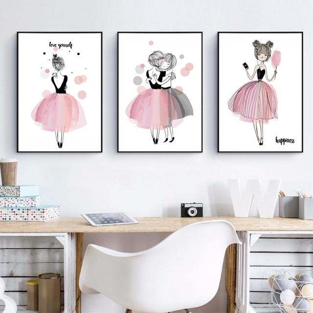 Decoratie Kinderkamer Meisje.Leuke Cartoon Meisje Canvaskunst Poster Kinderkamer Muur Decor