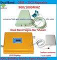 LCD Display DCS 1800 MHz + GSM 900 Mhz de Doble Banda Móvil teléfono Teléfono Celular Amplificador de Señal GSM DCS Repetidor de Señal Del Amplificador + antena