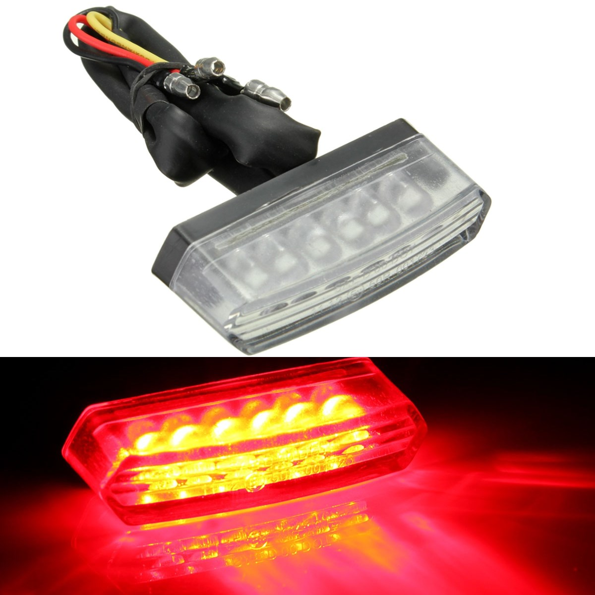 Universal 6 LED Motorcycle 12V Rear Number License Plate Light Red Lamp E-mark E11/SAE/DOT