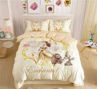 100% cotton princess bedding set girls rose pattern duvet comforter cover twin full sizes kids bed linens 3/4/5 pc sheets yellow