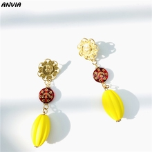 купить Gold Pumpkin DIY Accessories Vintage Red Stars Moon Beads Drop Earrings For Wedding Charm Tassel Dangle Earrings Wholesale по цене 148.5 рублей