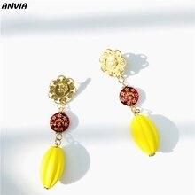 Gold Pumpkin DIY Accessories Vintage Red Stars Moon Beads Drop Earrings For Wedding Charm Tassel Dangle Wholesale