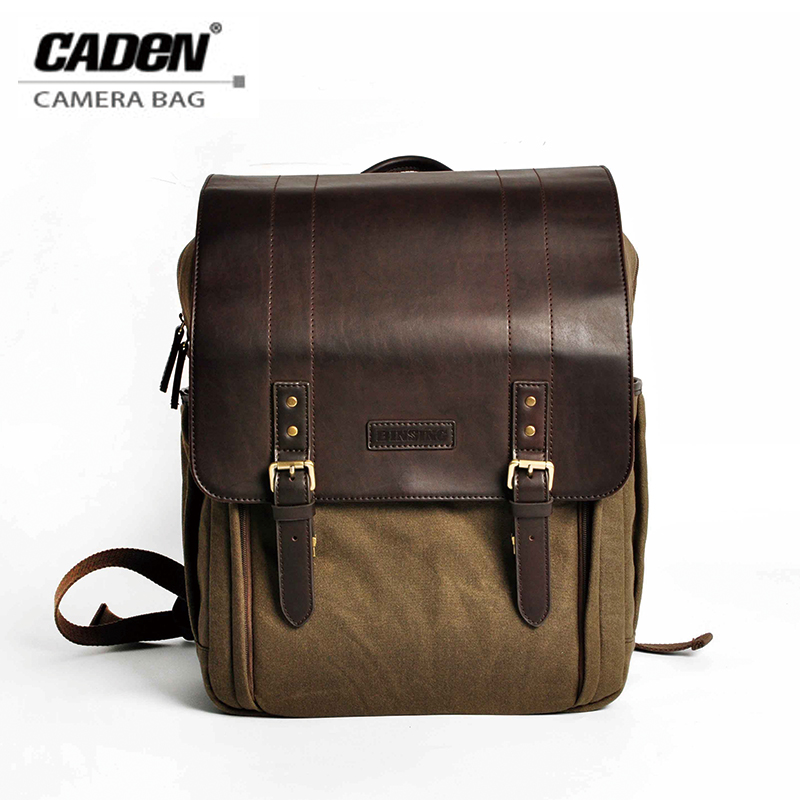 CADeN Camera Bag Backpack shoulder Waterproof Canvas Brown Photo Video padded insert case for Sony Nikon Canon DSLR Camera P5