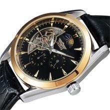 2016 Hombres Superiores de la Marca de Moda Tourbillon Fase Lunar 24 Hora/60 Min Sub-Dial Correa de Cuero Automático Mechanical Men Reloj de Pulsera