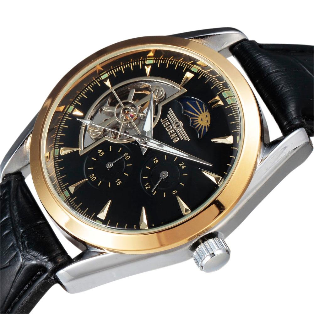 Men's Tourbillon Moon Phase 24 Hour/60 Min Sub-Dial Leather Strap Automatic Mechanical Men Wrist Watch