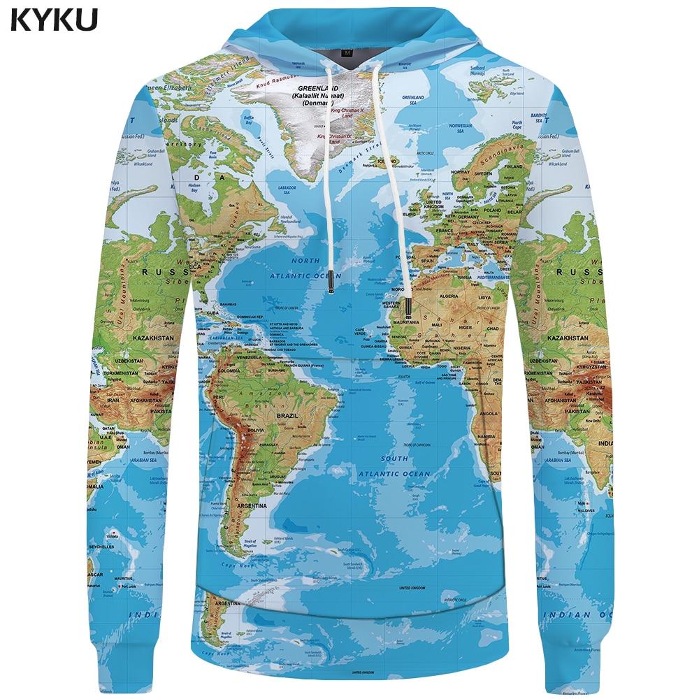 Kyku Brand World Map Sweatshirts Earth Sweat Shirt Funny 3d Hoodies  Mens Clothing Men Cool Anime Hoody Man
