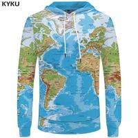KYKU Brand World Map Sweatshirts Earth Sweat Shirt Funny 3d Hoodies Mens Clothing Men Cool Anime