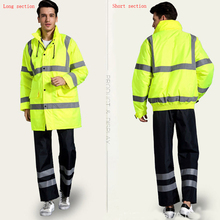 Safety Clothing Outdoor High Visibility Reflective Jacket+trousers Waterproof Rain Coat Warm Wadded Work Wear Winter Outwear set