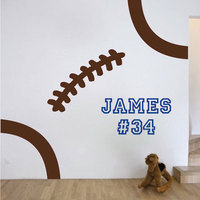Sports Wall Decal Soccer Football Personalized Name And Number Wall Sticker Kids Boys Bedroom Interior Decor