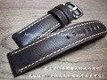 Mão pura feita de Alta Qualidade Fina de Couro Assista Bracelete & banda Fivela de Prata 22mm Pulseira marrom Escuro com aço inoxidável fivela