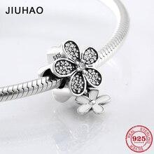 Горячая 925 пробы Серебряная Мода белая эмаль и CZ цветок бусины подходят Pandora Шарм браслет ювелирных изделий