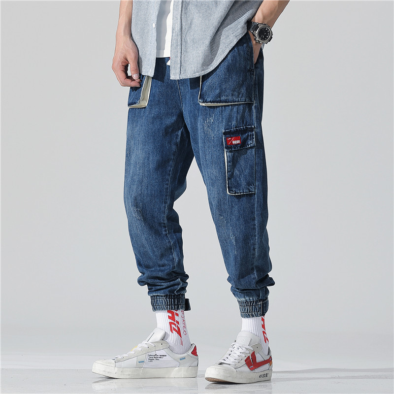 Multi-pocket Men's jeans spring and summer style of overalls Nine-cent casual pants Hip hop loose Nine pants