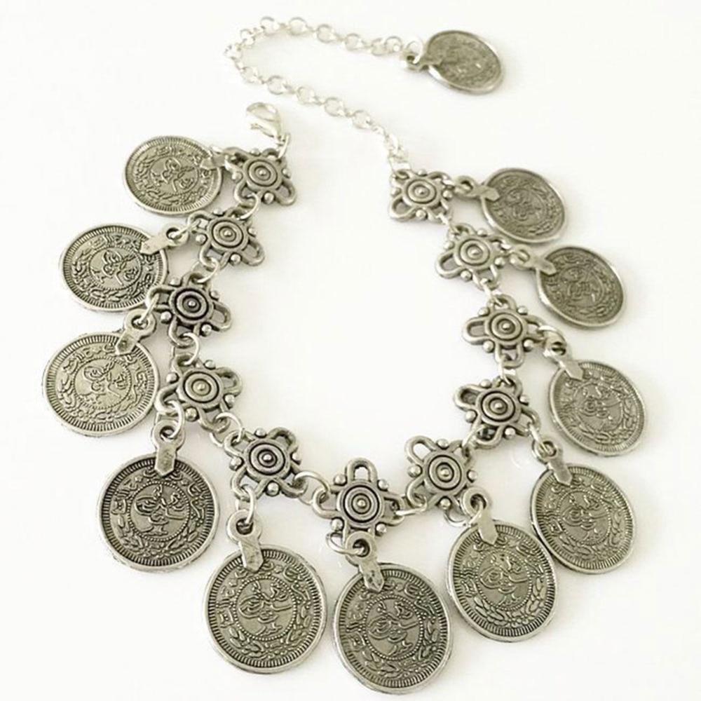 Fancy Retro Bangles Renaissance Bohemian Copper Coins Chain Fringing  Bracelets Metal Tassel Link Ankle Bracelet Jewelry