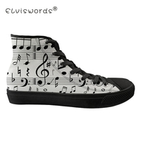 FORUDESIGNS Music Notes Printing Flats Women Cartoon 3D Guitar Sneakers Classic Lace Up Black Canvas Shoes Comfortable Footwear