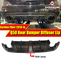 Подходит для Infiniti Q50 углеродного волокна заднего бампера Диффузор JDM LH Стиль W/светодиодный стоп сигнал и вентиляционный дизайн Q50S бампер гу