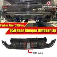 Fits For Infiniti Q50 Carbon fiber Rear Bumper Diffuser JDM LH style W/ LED Brake light &vent design Q50S Bumper lip 2018 in